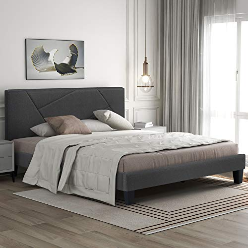 Cama tapizada con cabecero de cama de matrimonio, funda de lino, con somier, color gris, 140 x 200 cm