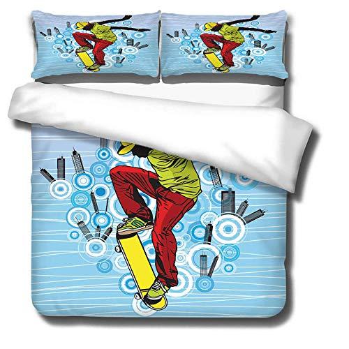 GVJKCZ Funda de edredón de Microfibra Impresa en 3D,Skateboarding Azul Rojo amarilloRopa de Cama,260x220 cm con Cremallera 2 Fundas de Almohada 50x75 cm para Adolescentes Niñas Regalo