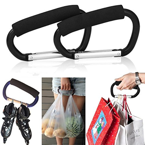 Pack of 2 Grocery Bag Holder Handle Carrier Tool Grip Your Tote,Handy Stroller Hooks, Multi Purpose Hooks, Pushchair Shopping Bag Hook Carabiner (Black)