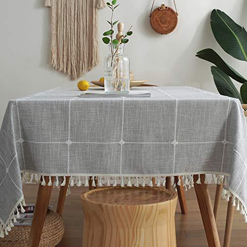 Schwere Baumwollleinen Tischdecke staubdicht Quaste Tischdecke für Küche Essen Bauernhof Tischdekoration, B-grau, 140 x 300 cm