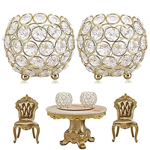 2 Piezas Portavelas Cristal Oro,Candelero Cristal,CEASELESLYUtilizado para Decoraciones de Mesa de Centro,portaescobillas...