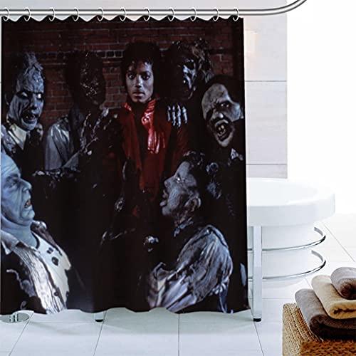 LQHUS Duschvorhangk&enspezifischer Polyester-Stoff Michael Jackson moderner Duschvorhang wasserdichter Badezimmervorhang mit Hakenbadevorhang