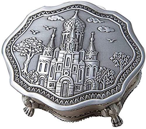 GIAOYAO Jewellery Box Organiser Metal European Retro Jewelry Storage Box Irregular Household Desktop Jewelry Box for Girls Ladies Women (Color : Silver, Size : 10X10X4.4CM)