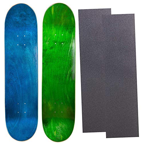 Cal 7 Blank Maple Skateboard Decks with Grip Tape| Two Pack (Blue, Green, 7.75 inch)