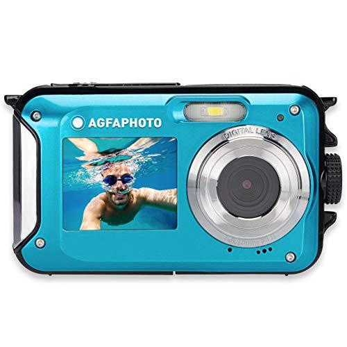 AGFA PHOTO Realishot WP8000 - Cámara de fotos digital impermeable (24 MP, vídeo Full HD, doble pantalla LCD, zoom digital 16x, estabilizador digital, batería de litio), color azul