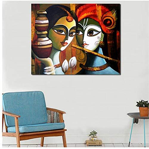 chtshjdtb Buddha Radha KrishnaWandkunstLeinwand Poster Drucke Malerei Wandbilder Für Büro Küche SchlafzimmerWohnkultur-60x80 cm X 1 stücke Kein Rahmen