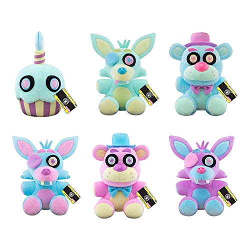 Funko FNAF Spring Pastel Colorway Plush Set of 5 - Cupcake, Foxy, Freddy Blue and Freddy Pink, Foxy Blue and Foxy Purple