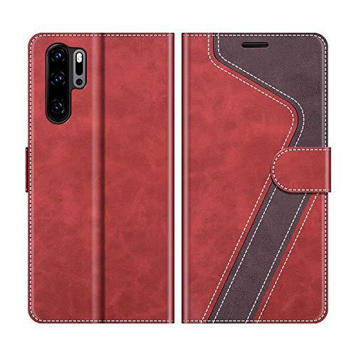 MOBESV Handyhülle für Huawei P30 Pro Hülle Leder, Huawei P30 Pro New Edition Klapphülle Handytasche Hülle für Huawei P30 Pro / P30 Pro New Edition Handy Hüllen, Modisch Rot