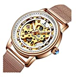 Women Skeleton Automatic Mechanical Rhinestones Leather Stainless Steel Waterproof Watch Four Leaf Clover (Rose Gold)