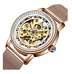 Automatic Mechanical Waterproof Rose Gold Dial Rhinestone Watch