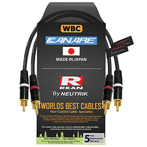 1 Foot RCA Cable Pair - Made with Canare L-4E6S, Star Quad, Audio Interconnect Cable and Neutrik-Rean NYS Gold RCA Connectors - Directional Design - Custom Made by WORLDS BEST CABLES