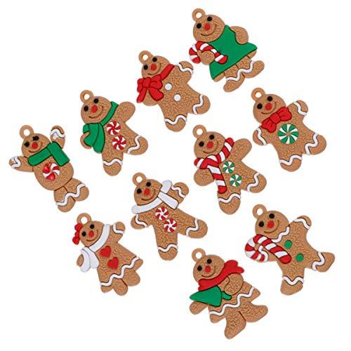 Wakauto - 10 pezzi di zenzero decorazioni natalizie a forma di omino di pan di zenzero per albero di Natale, ideali per feste e feste
