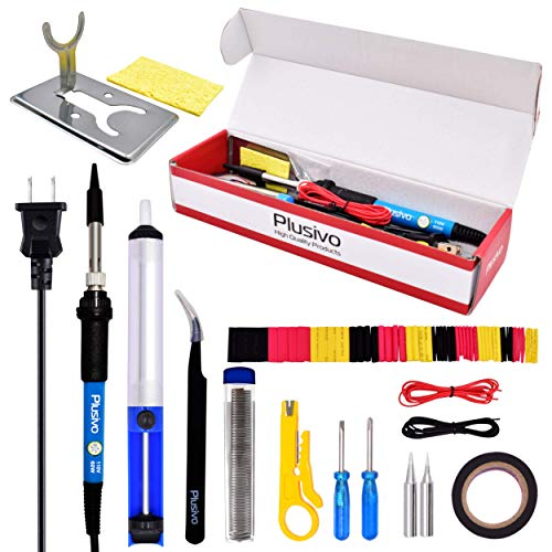 Soldering Kit - Soldering Iron 60 W Adjustable Temperature, Mini Soldering Iron Stand, Soldering Iron Tip Set, Desoldering Pump, Tweezers - Soldering Iron Kit for Electronics [110 V, US Plug]