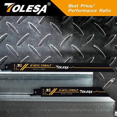 Product Image 4: TOLESA Reciprocating Saw Blade Bi-Metal Cobalt for Sawzall Saw 9-Inch 14TPI Metal Cutting - 5 Pack