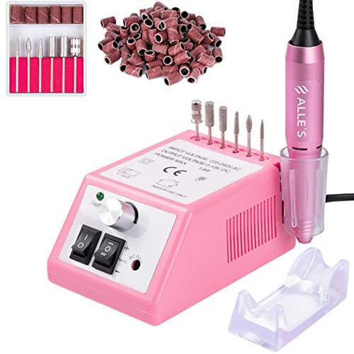 Professionelle elektrische Nagelbohrmaschine 20000 U/min Efile Buffer Maniküre-Schleifwerkzeuge für Acrylnägel mit Nagelbohrer-Set und Schleifbändern (Pink)