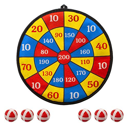 "MrSunshine Fabric Dart Board Game for Kids - 6 Balls with Hook-and-Loop Fasteners Kids Dart Board - Classic Dart Board with Balls - Kids Safe Dart Board - Bullseye Game (11"" - Red)"