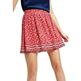 Tommy Jeans Tjw Embroidery Detail Skirt Gonna, Rosso (Floral Print/Deep Crimson 0k3), 40 (Taglia Unica: Small) Donna