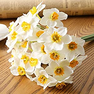 "SANSHIYI 6pcs/Lot Artificial Daffodil Plant Fake Flower 40"", Simulation Faux Narcissus for Home Office Desk Wedding Scene Decor(White)"