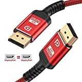 DisplayPort Cable,Capshi 4K DP Cable Nylon Braided -(4K@144Hz, 4K@60Hz, 2K@165Hz) Gold-Plated DP to DP Cable Ultra High Speed Display Port Cable 10ft for Laptop PC TV etc- Gaming Monitor Cable (Red)