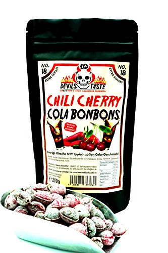 Chili Cherry Cola Bonbons - Cola trifft Kirsche & Chili - mega scharf - 200g - Hotskala: 9