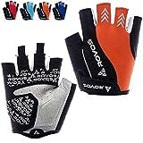 ROVOS Women's Cycling Gloves Bike Gloves Mountain Bike Gloves Half Finger Road Riding Gloves Anti Slip Shock Absorbing Biking Gloves for Women (Orange, Small)