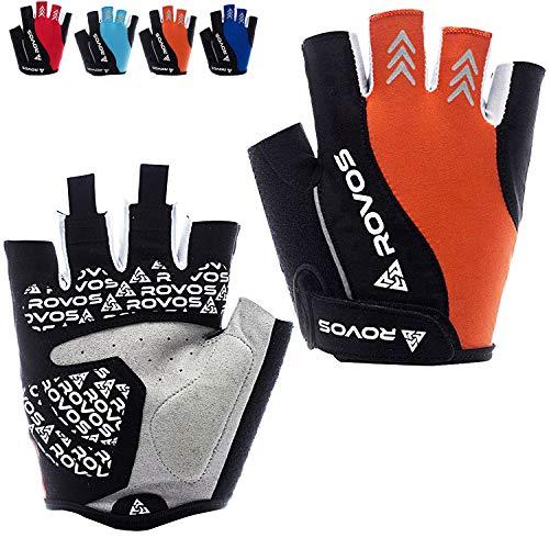 ROVOS Women's Cycling Gloves Bike Gloves Mountain Bike Gloves Half Finger Road Riding Gloves Anti Slip Shock Absorbing Biking Gloves for Women (Orange, Medium)