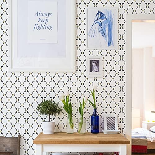 Timeet Papel Pintado Autoadhesivo Enrejado de 45 x 500 cm, Papel de Pared Decorativo Papel Adhesivo para Muebles para Decoración del Hogar, Revestimiento de Cajón, Rollo de Vinilo