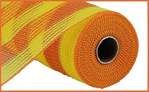 Faux Jute & Small Stripe Deco Mesh, 10.5 Inch x 10 Yards (Yellow, Orange)