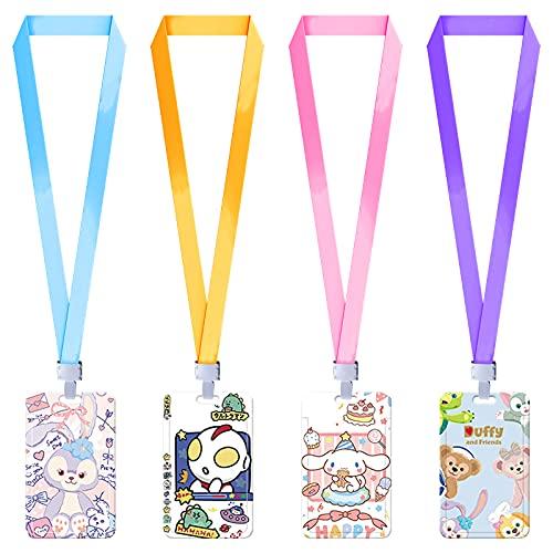Mousyee Porta Tarjetas Cuello, Portatarjetas de Identificación, 4 Soportes Diferentes con Cordones de Colores Aleatorios Soporte Vertical de Una Cara para Escuela Oficina Tarjeta de Identidad