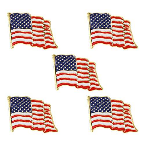 STOBOK 5 Pcs Amerikanischen Flagge Broschen American Flag Patriotic Anzug Jacke Revers Pin Uns Flagge Breastpin Pullover Schal Clips Schmuck Brosche Pin Souvenir Geschenk Pins