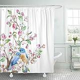 JOOCAR Design-Duschvorhang, Kirsch-Aquarell-Frühlingsblüte & Vögel, wasserdichter Stoff, Badezimmer-Dekor-Set mit Haken