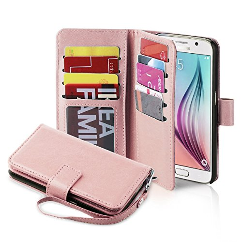 J.west S6 Case, Galaxy S6 Wallet case,[Wrist Strap] Magnet Flip Folio PU Leather Wallet Case with ID&Credit Card Holder Cash Pockets for Samsung Galaxy S6 (Rose Gold)
