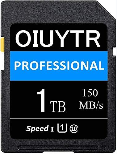 Scheda di memoria SD UHS-I 1024 GB 1 TB SD Card UHS-I Velocità massima 150 MB/S, C10, U1, 4K UHD, scheda SD compatibile per computer/fotocamera, ecc. (1 TB)