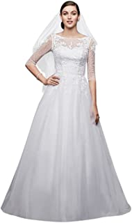 a5276126542 David s Bridal 3 4 Sleeve Wedding Dress with Lace and Tulle Skirt Style  WG3742