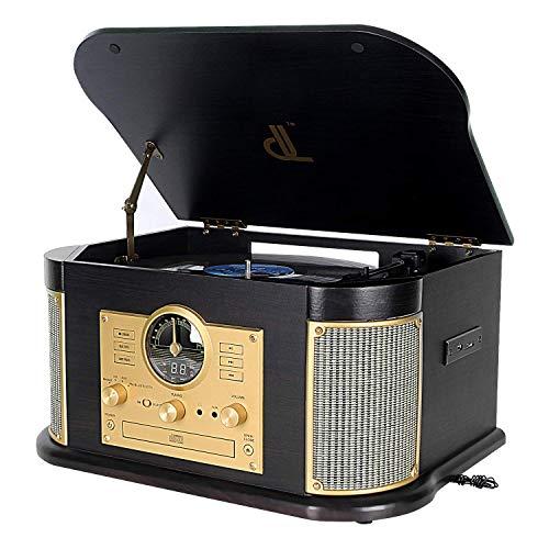DLITIME Tocadiscos con Am&FM Radio/USB/RCA/AUX/CD/Bluetooth Stereo Speaker Placa...
