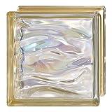 6 Piezas Bloque de vidrio Bormioli Rocco colección Agua Perla Oro | cm 19x19x8 | Unidad de venta 1 caja de 6 pzas