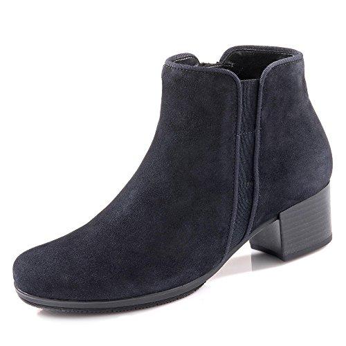 Gabor 95.530-16 Damen Stiefelette aus Veloursleder Wechselfußbett 35-mm-Absatz, Groesse 40, dunkelblau