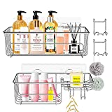 Adhesive Shower Caddy, HOMOH Bathroom Basket Shelf with Soap Dish and Hooks Wall Mounted No Drilling Rustproof Storage Organizer Racks for Bathroom, Toilet, Kitchen - 2 Pack