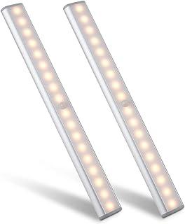Motion Sensor Cabinet Light,Under Counter Closet Lighting, Wireless USB Rechargeable Kitchen 18 LED Warm Lights,Battery Po...