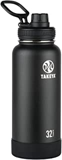 Takeya 51020 Actives Insulated Stainless Steel Water Bottle with Spout Lid, 32 oz, Onyx