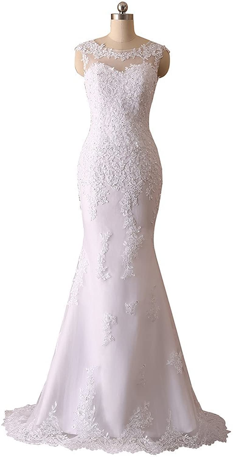 Yilian Woman's New Noble Sweetheart Beaded Lace Wedding Dresses Bridal Gowns