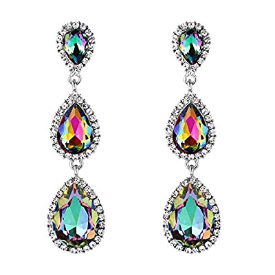 EleQueen Women's Gold-tone Austrian Crystal Teardrop Pear Shape 2.5 Inch Long Earrings Emerald Color