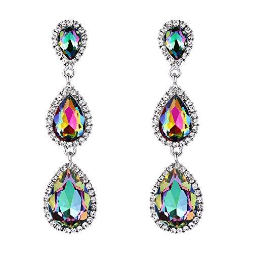 Pendientes de Mujer - Clearine Pendiente en Forma de Bolita, Estilo Precioso Cristales para Boda Novia Fiesta Multicolor Tono Plateado