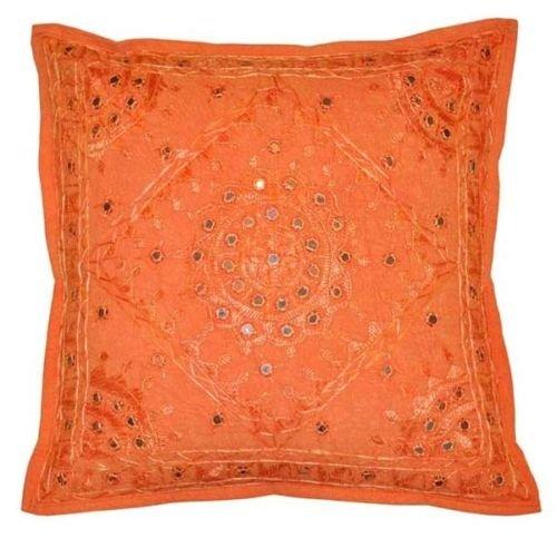 NANDNANDINI - Funda de Almohada Decorativa Hecha a Mano de algodón con Espejo Indio, Funda de cojín de Color Naranja, Funda de cojín Hippie para sofá Bohemio Chic Bohemio