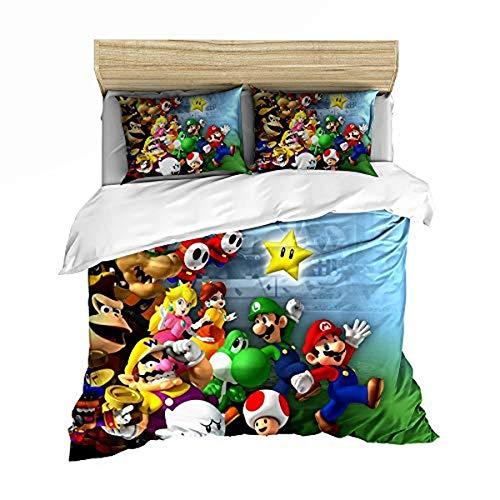 QWAS Super Mario Bros. Funda nórdica de dibujos animados de anime, muy suave y cómoda, para decorar el espacio (A05,135 x 200 cm + 80 x 80 cm x 2)