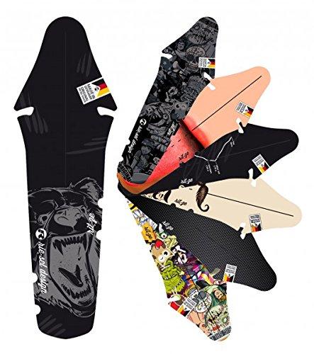 Quantio Fender ri:TZE - Schutzblech - Spritzblech - Mudguard - Radschutz - Fahrradschutzblech - Fahrrad - MTB - Bike - Steckschutzblech, Motive:Grizzly Big Black