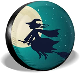 Chawzie Witch Starry Night with Full Moon Halloween Car Wheel Protector Soft Tire Cover Tire Cover Waterproof Uv Sun 14 - 17 Fit for Jeep Trailer Rv SUV and Many Vehicle