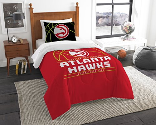 The Northwest Company Officially Licensed NBA Atlanta Hawks Reverse Slam Twin Comforter and Sham