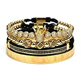 WFYOU Imperial Crown Bracelets for Men 18kt Gold Bracelet Cubic...