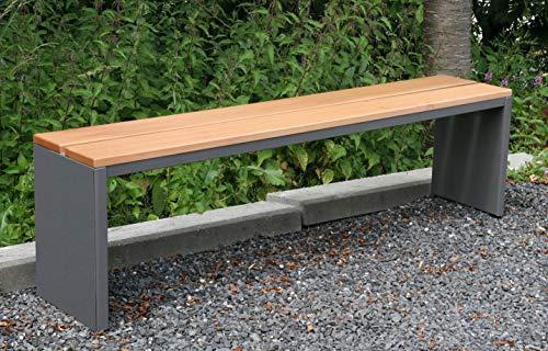 Gartenbank / Parkbank BxTxH: 150x30x40cm, Edelstahl moonstone-grau (Sitzbank für Wohnraum / Außen-Bereich, Bank mit Echt-Holz für Draußen, Design-Gartenmöbel, 3-Sitzer Holzbank) (Marke: Szagato) Made in Germany